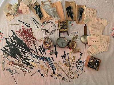 VINTAGE job lot of clock hands, glass, movements, etc
