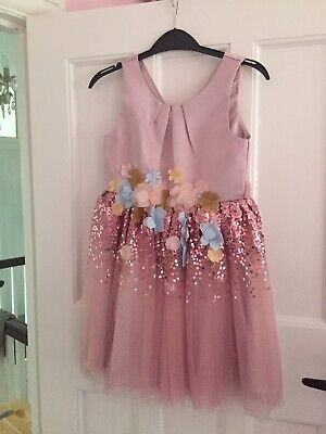 Girls Short Sleeve Dusky Pink Sequinned Monsoon Dress Size Age 6 Years