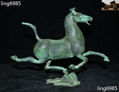 "8"" Chinese Feng Shui Ancient Dynasty bronze Ware Horse tread fly Swallow statue"