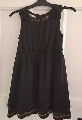 Marks & Spencer Girls  black, With gold detail - silky dress - age 6 years