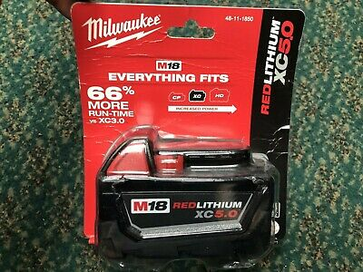 NEW SEALED Milwaukee 48-11-1850 M18 Red lithium XC 5.0Ah Battery Pack Free Shipp