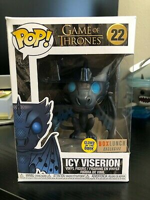 Funko Pop Game of Thrones Icy Viserion # 22 GITD Glow in the Dark Box Lunch Excl