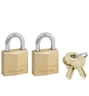 Master Lock Padlock, Solid Brass Lock, 3/4 in. Wide, 120T Pack of 2-Keyed Small