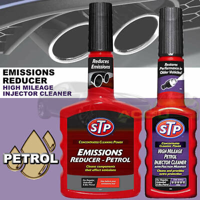 STP Car High Mileage PETROL Fuel Injector Cleaner + Emissions Reducer Twin Pack