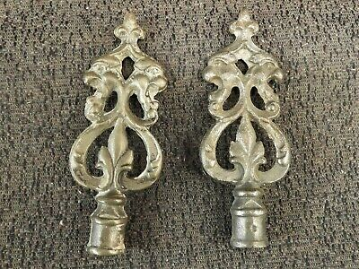 Pair Of Cast Iron Double Lion Lamp Finials, Free Shipping # 1222