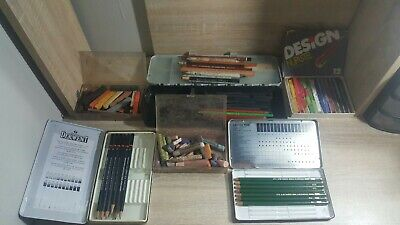 Pastel And Charcoal Pencil Lot Huge Lot Of Art Supplies Derwent Castell