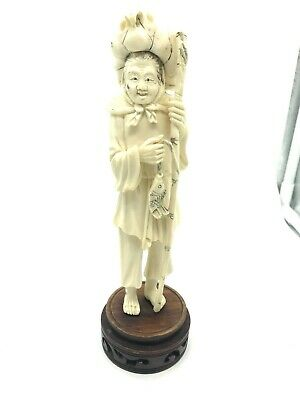 Vintage Chinese fisherman Figurine, 7.5 Inches