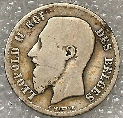 1886 Belgium Leopold II Silver 50 Centimes Coin (French text), free combined S/H