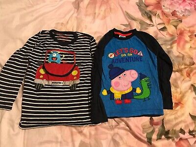 2 X Boys Age 5-6 Years Peppa Pig And Bluezoo Long Sleeve Blue Tops