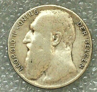 1901 Belgium Leopold II Silver 50 Centimes Coin (Dutch text), one year type