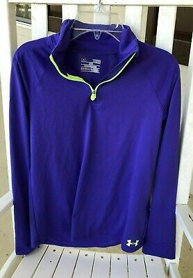 Under Armour Purple Girls 1/2 Zip Top Shirt  Loose Fit sz Youth L