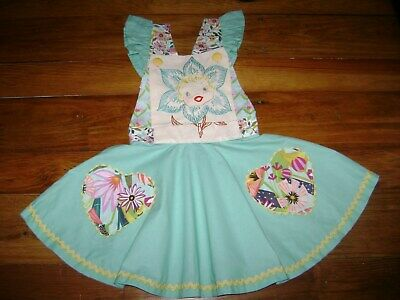 Handmade BoutiqueVintage PinaforeDress Size4 t CottonFlora Hand embroidered