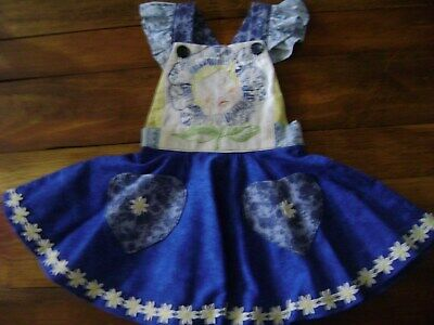 Handmade BoutiqueVintage PinaforeDress Size2t Cotton Blue Hand embroidered
