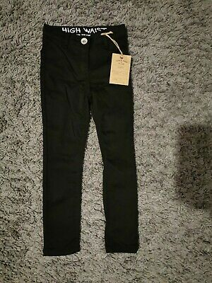 BNWT Next Girls High Waist Skinny Black Trousers Age 5