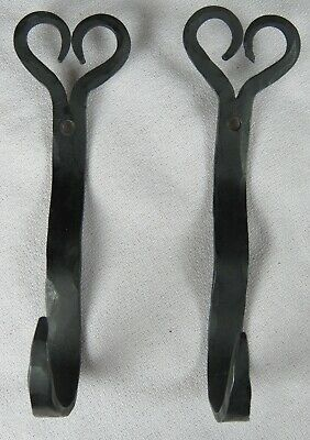 2 Hand Forged Wrought Iron Heart Shaped Hooks, 5 1/2""