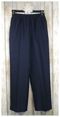 Women's ALFRED DUNNER Navy Elastic Waist Pull-On Pants Pockets Size 6P 6 Petite