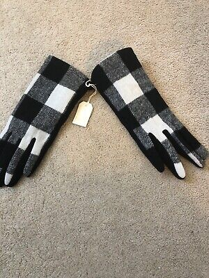 Mud Pie Women's Dress Gloves Deep Black/ White Plaid  One Size
