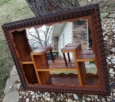 Vintage Mid Century Carved Solid Wood Mirror Shadow Box