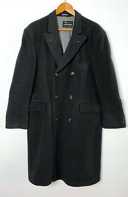 Egon von Furstenberg 42R Wool Cashmere Overcoat Charcoal Gray Double Breasted