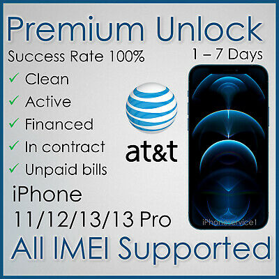 PREMIUM AT&T ATT FACTORY UNLOCK SERVICE FOR IPHONE 11Pro 11 Xs Xr Past Due