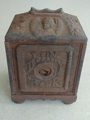Antique 1800's Cast iron Art Nouveau Coin Deposit Bank Coin Bank