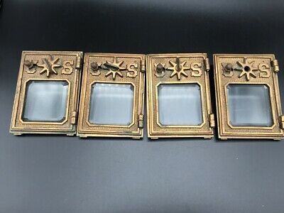 A294dh VTG Antique Cast Solid Brass Post Office Box Door AMPO Mail Beveled Glass