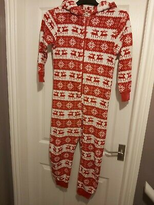 Hooded next all in one girls age 9 red&white-winter-deer-snowflake