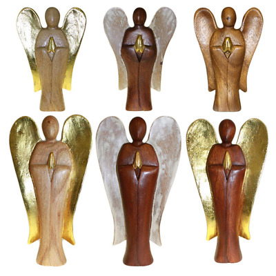 Hand Carved Hati Hati Wooden Angel Home Decor Ornament Statue