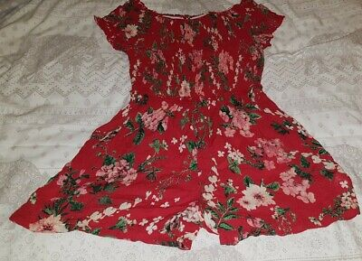 girls red floral summer playsuit age 10years next