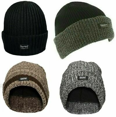 Thinsulate Chunky Lined Knitted Knit Beanie Hat Warm Thermal Ski Fine Peak Cap