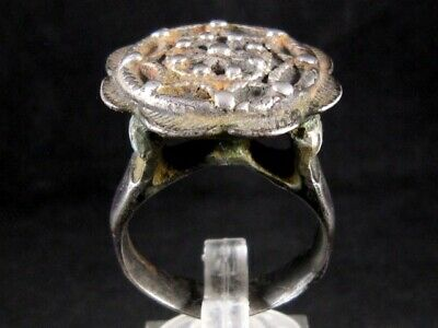 SUPERB LARGE BYZANTINE SILVER RING in TOP FLORAL DESIGN+++AS FOUND CONDITION+++