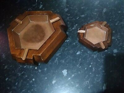 Vintage Arts and Crafts Copper Ashtray arts + craft wood + brass ash tray