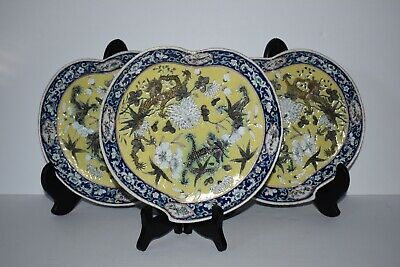 Antique Chinese Plates - Dragons, Flowers, Birds - Set of 3 - Ex Condition