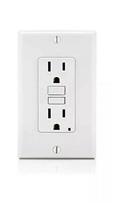 Leviton Smartlockpro™ Self Test GFCI Outlet with Wall Plate GFNT1-W White