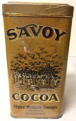 Vtg Savoy Cocoa Tin Can Steele-Wedeles Co. Chicago Nice Graphics