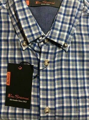 Ben Sherman Blue/Gray Check Long Sleeve 100% Cotton Button Up Shirt Size L NWT