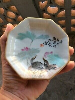 ANTIQUE CHINESE QIANJIANG FOOTED DISH ~Exceptional Quality Hand Painted ~ NICE!