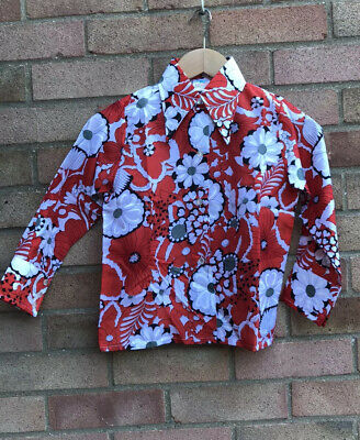 Vintage Retro Authentic 60's/70's Kids Clothes Shirt Red Hippy Age 8 Years