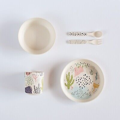 STOCK CLEARANCE - 24 x Kids Bamboo Dinner Sets - Cactus Design