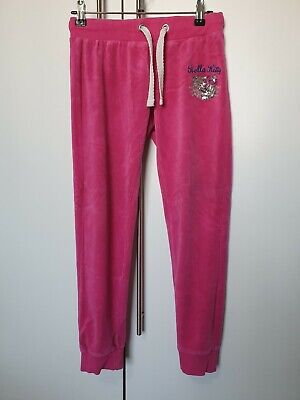 Hello Kitty M&S Girls Pink Velvet Feel Tracksuit Bottoms Joggers Age 10-11 Years
