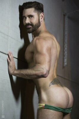 POSTCARD Print / Bearded Andrew in green speedos / Gay Interest