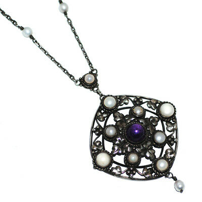 Artificers' Guild? Superb English Arts & Crafts Silver Amethyst Pearl Necklace