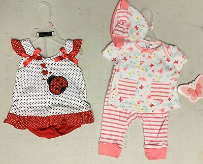 3-6 mo Baby Girl's Sets Outfits    Ladybugs Dress and 3 pc pants