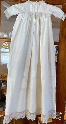 Vintage baby christening gown, lovely lace with lots of tucks