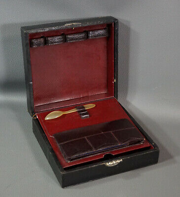 Antique Medical Apothecary Bull Horn Spoon Travel Calf Leather Box Case ~Bottles