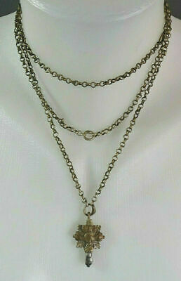 Early 16c. Byzantine Silver Alloy Crucifix Cross Pendant Fob Long Chain Necklace