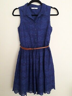 Girls Blue Cotton Broderie Dress. Age 11-12. M&S. Worn Once. Vgc.