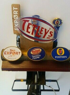 Brass Three Out T Bar Rugby Beer font Tetleys Fosters Carlsberg Export