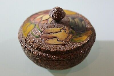 Art Nouveau Carved Nut Box, Hand Painted Carved Flowers BEAUTIFUL Box