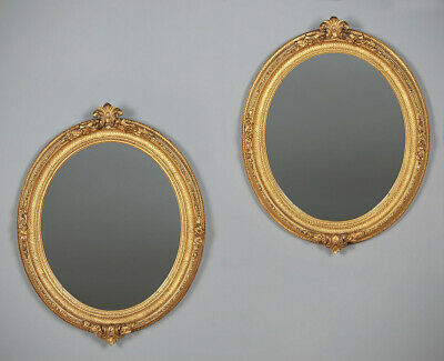 Antique Pair of Oval Gilt Frame Mirrors c.1880.